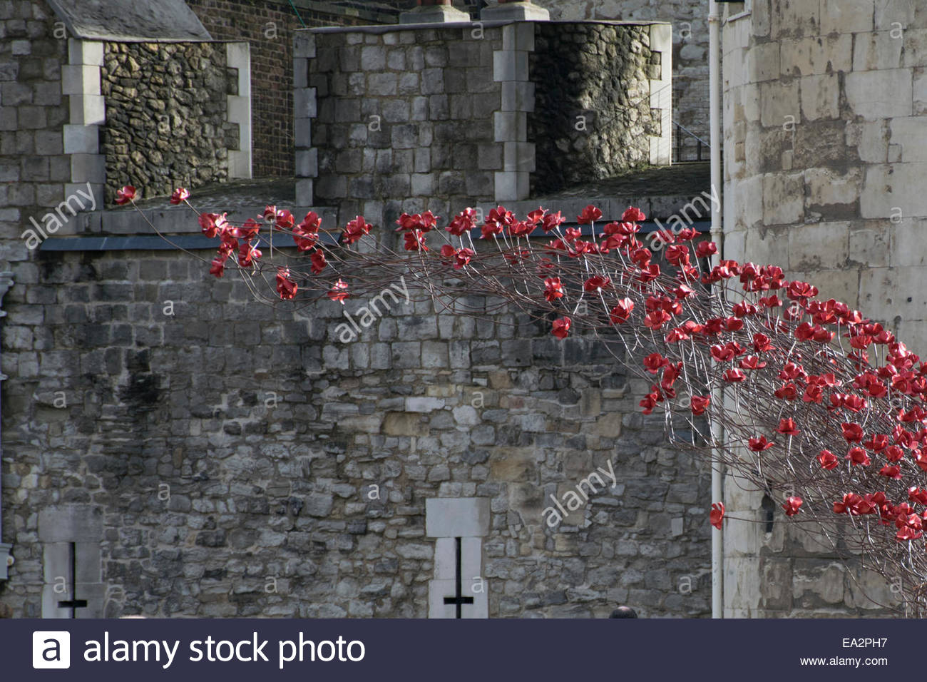 Wave section of the Blood Swept Lands and Seas of Red art installation at the Tower of London - Stock Image