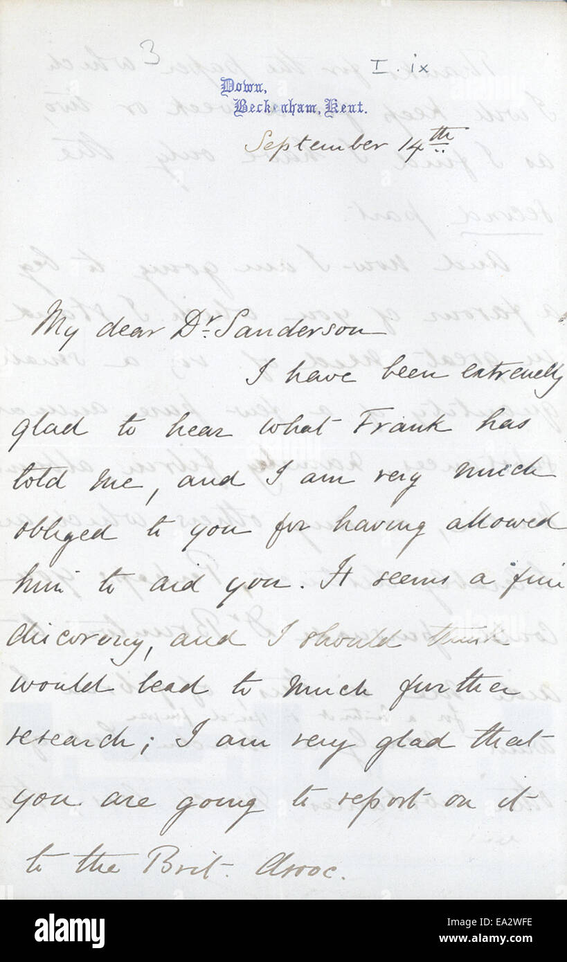 Letter, Charles R. Darwin to John Burdon-Sanderson, September 14, 1873