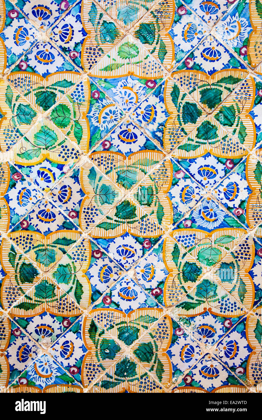 Traditional Arabic patterns on ceramic wall tiles in the Museum Dar Essid in Sousse,Tunisia. - Stock Image