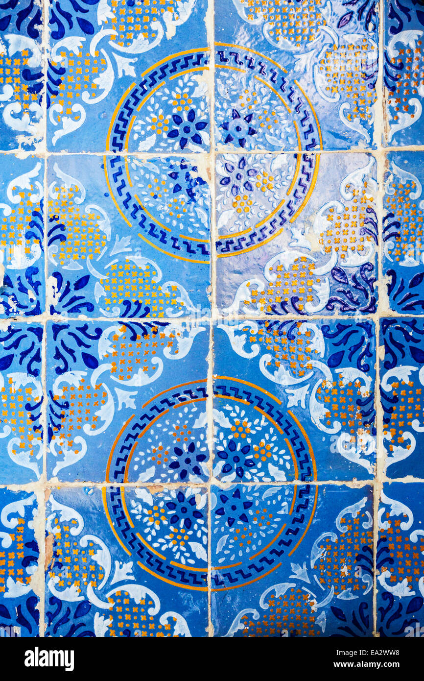 Traditional Arabic patterns on ceramic wall tiles in the Museum Dar ...