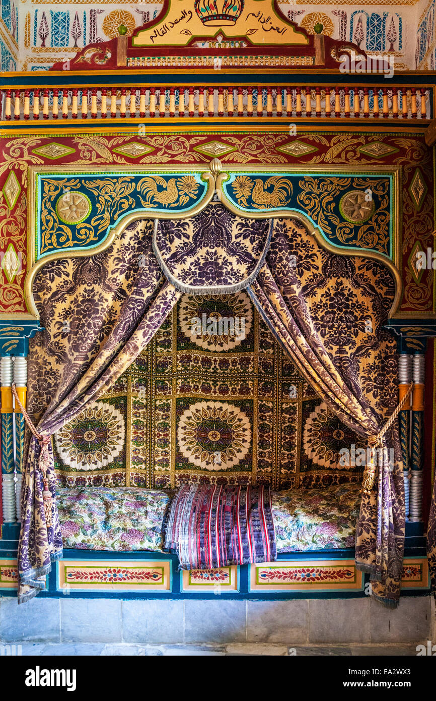 A bedroom in the Museum Dar Essid in Sousse,Tunisia. - Stock Image