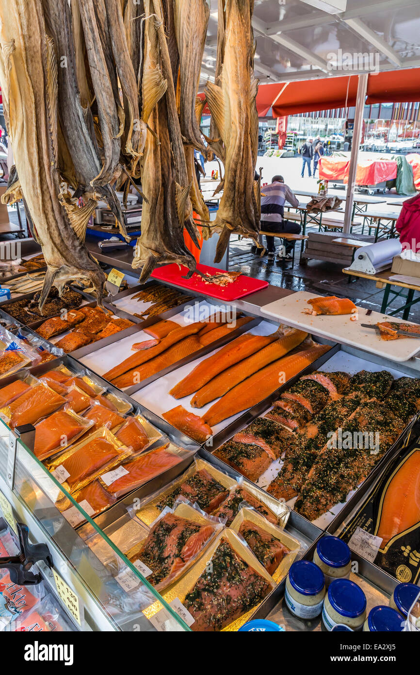 Fresh seafood at market on the dock in the harbour at Bergen, Norway, Scandinavia, Europe - Stock Image
