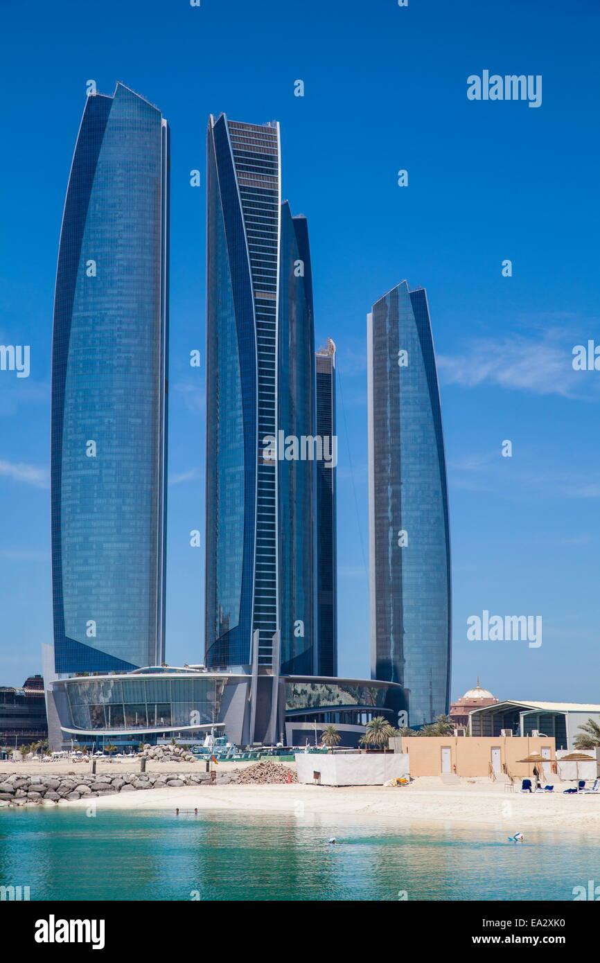 Etihad Towers, Abu Dhabi, United Arab Emirates, Middle East Stock Photo