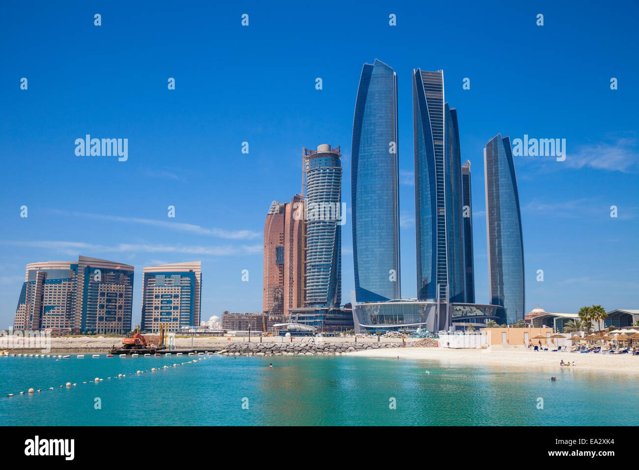Etihad Towers, Abu Dhabi, United Arab Emirates, Middle East Stock Photo