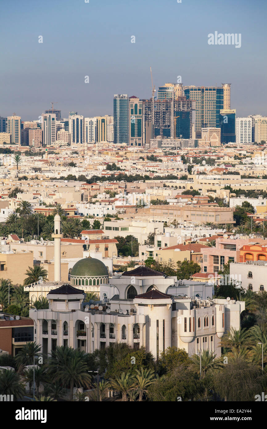 View of city skyline, Abu Dhabi, United Arab Emirates, Middle East - Stock Image