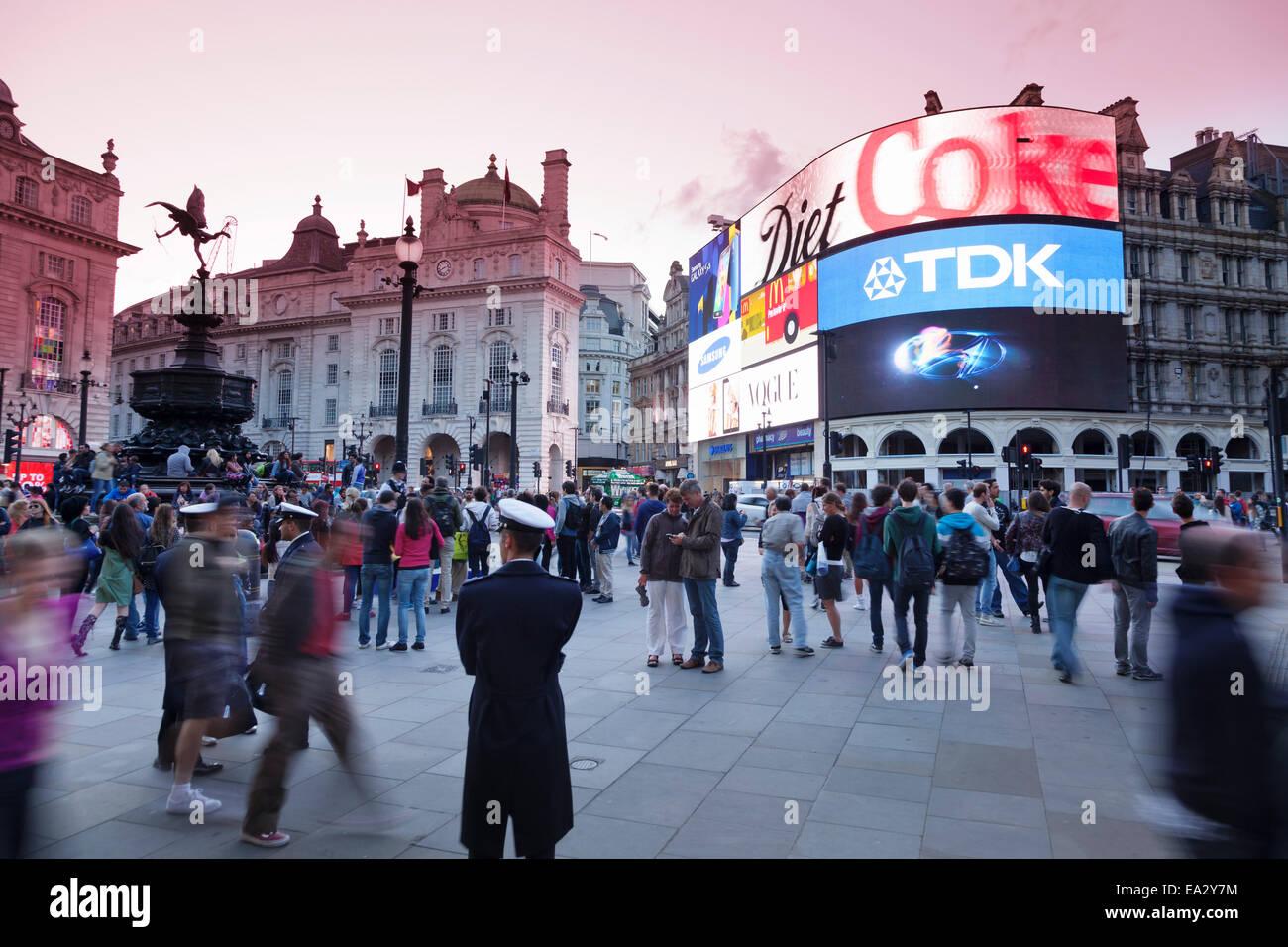 Statue of Eros, Piccadilly Circus, London, England, United Kingdom, Europe - Stock Image