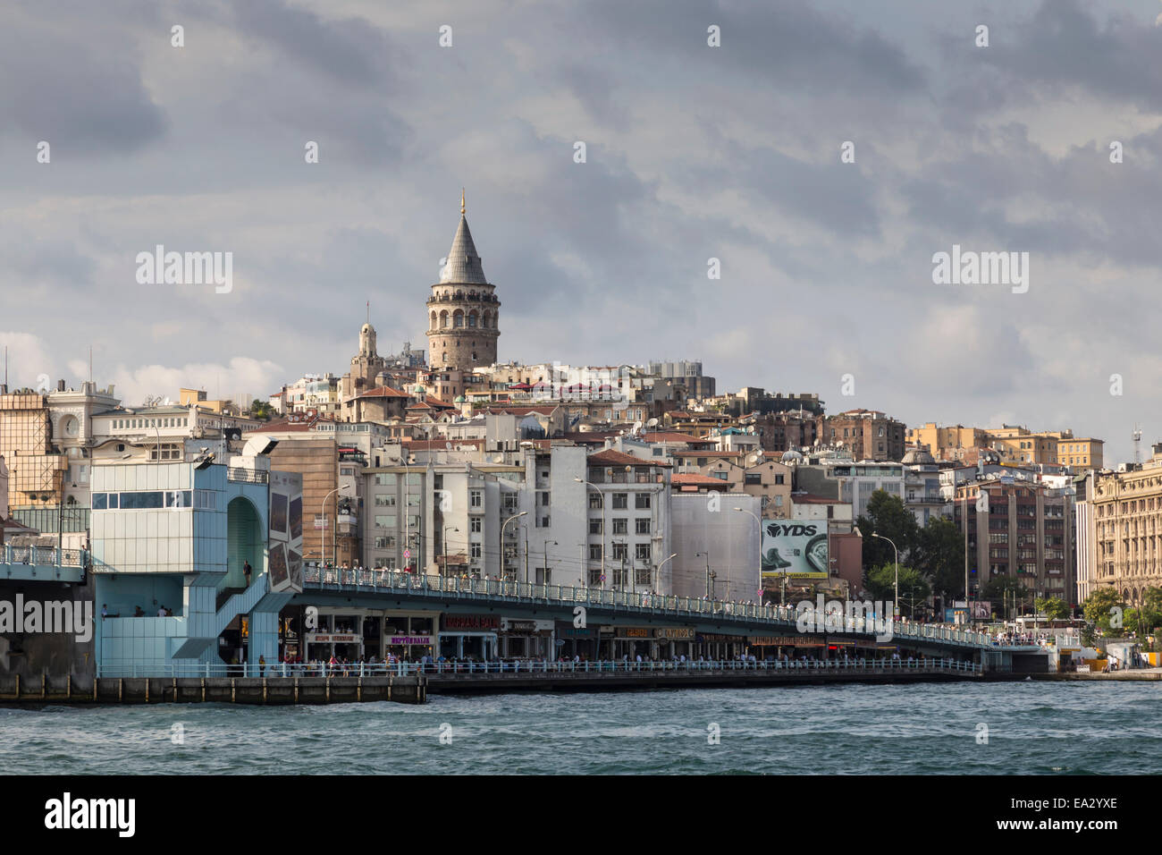Galata Bridge across the Golden Horn, Beyoglu District, Istanbul, Turkey, Eurasia - Stock Image