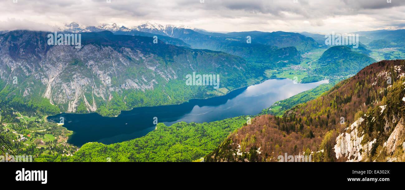 Lake Bohinj (Bohinjsko Jezero) seen from Vogel Ski Resort, Triglav National Park, Julian Alps, Slovenia, Europe - Stock Image