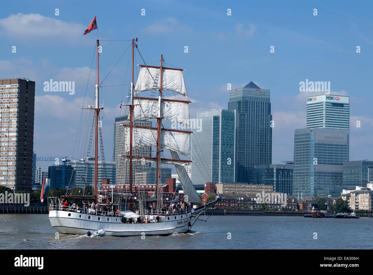Tall Ship at the Tall Ships Festival, near Canary Wharf, London, E14, England, United Kingdom, Europe - Stock Image