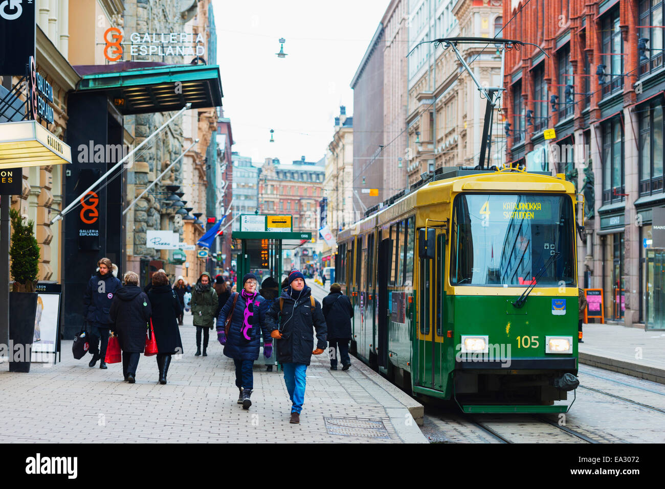 Downtown tram, Helsinki, Finland, Scandinavia, Europe - Stock Image