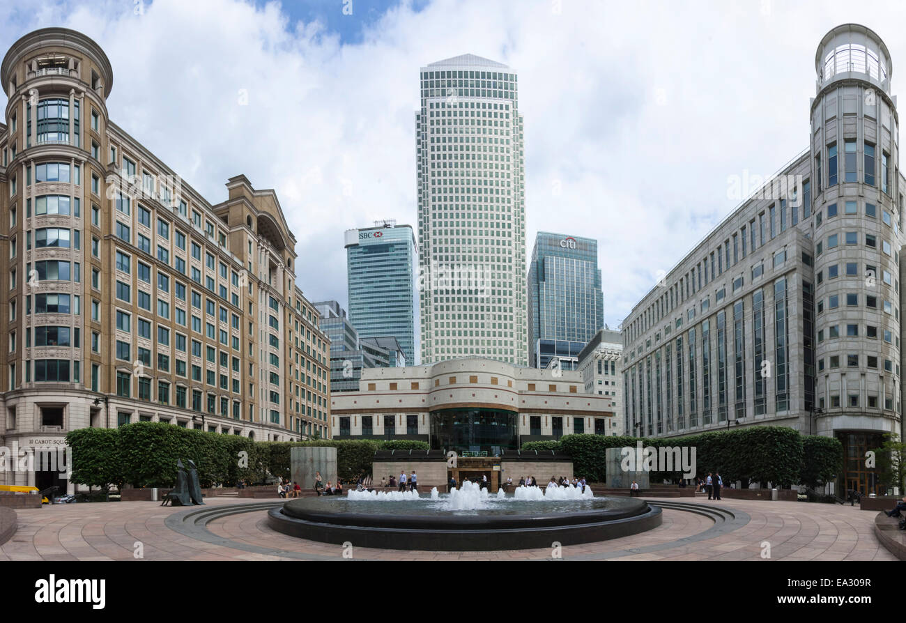 Cabot Square, Canary Wharf, Docklands, London, England, United Kingdom, Europe - Stock Image