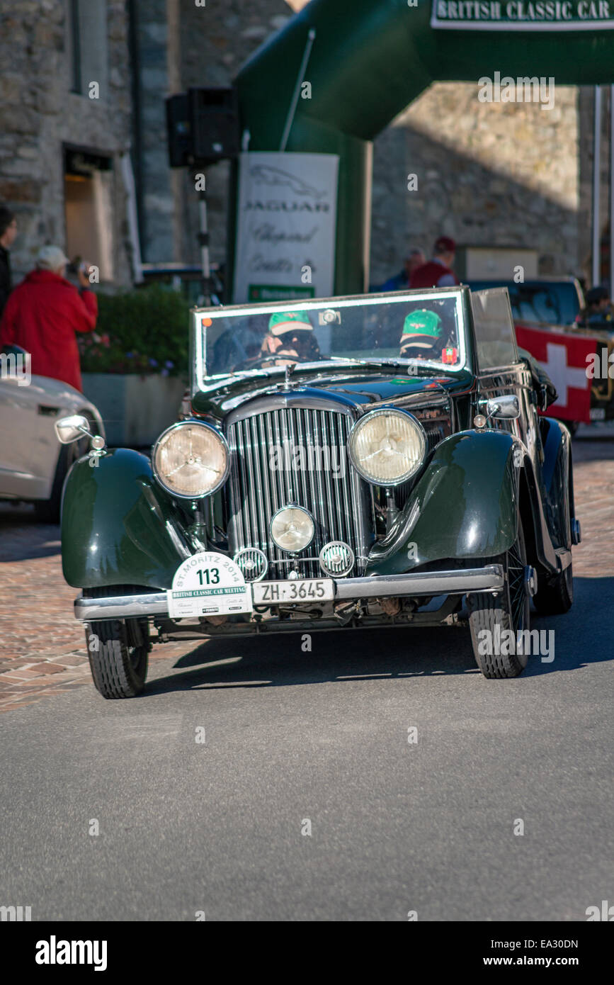 Rolls Royce vintage cars at the start of annual the British Classic Car Meeting 2014, St.Moritz, Switzerland. - Stock Image