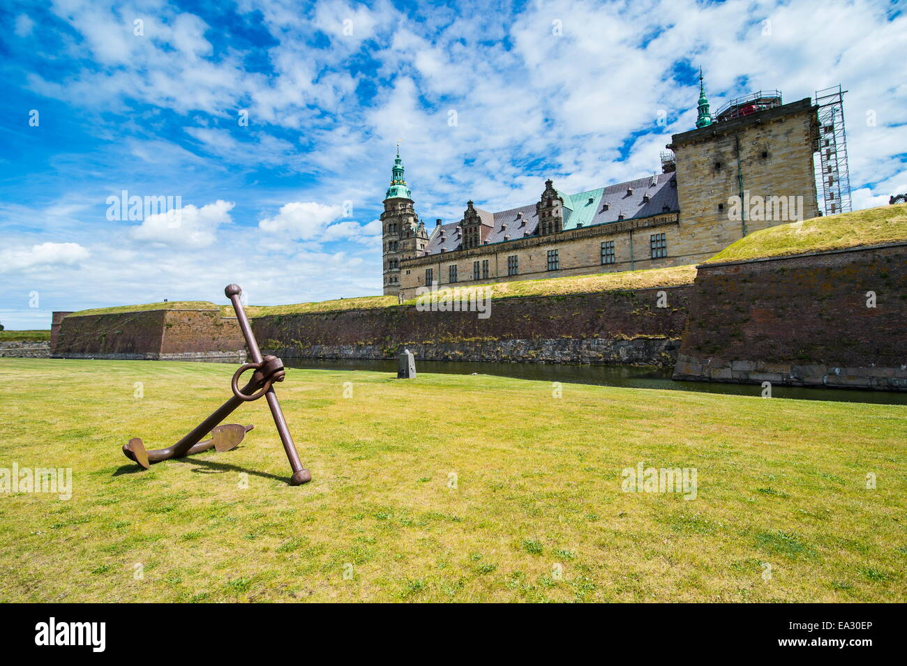 Huge old anchor in front of Kronborg renaissance castle, UNESCO World Heritage Site, Helsingor, Denmark, Scandinavia, - Stock Image