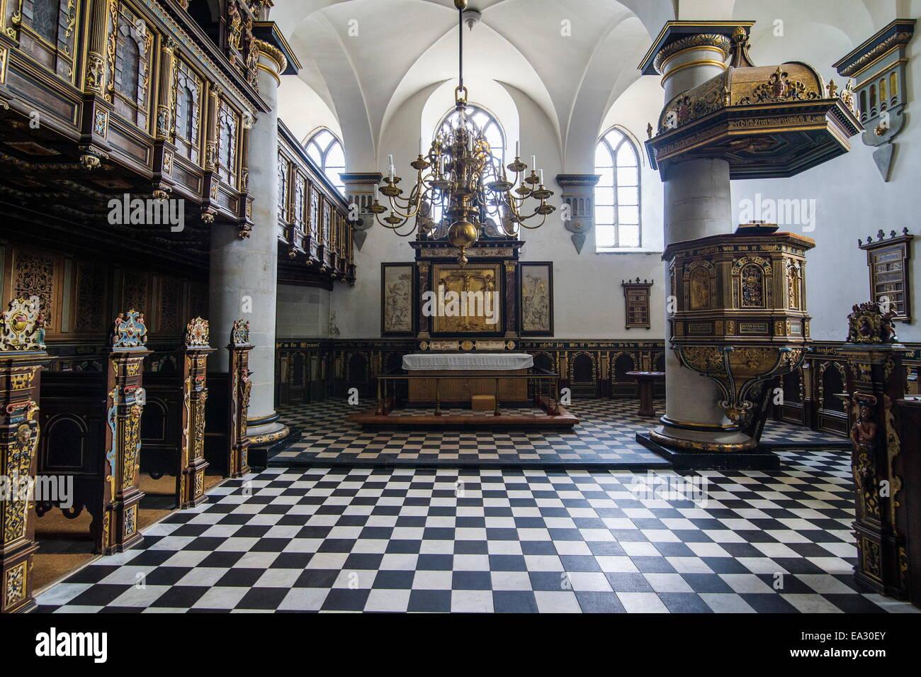 Chapel inside Kronborg renaissance castle, UNESCO World Heritage Site, Helsingor, Denmark, Scandinavia, Europe - Stock Image