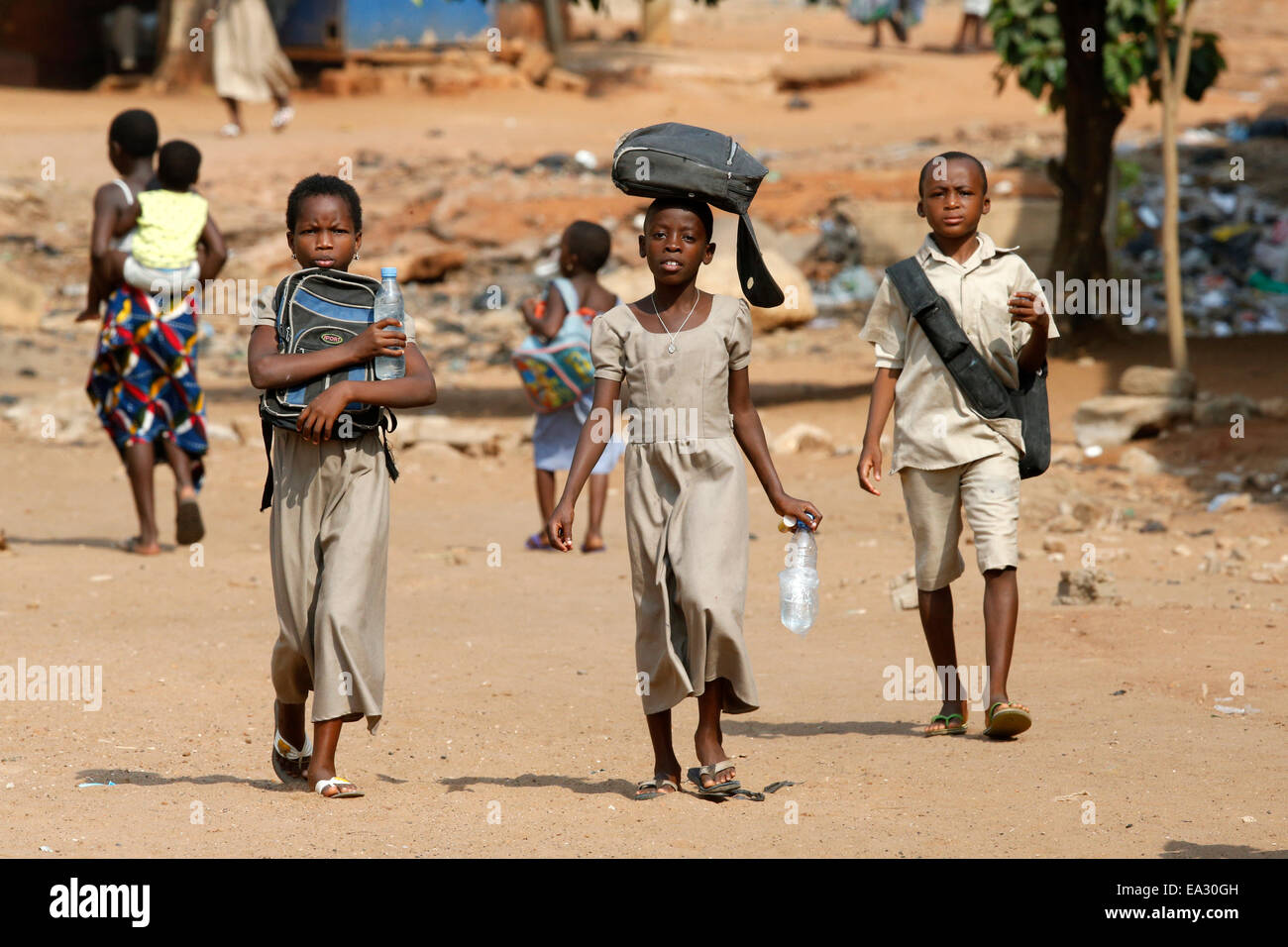 Pupils on their way to school, Lome, Togo, West Africa, Africa - Stock Image