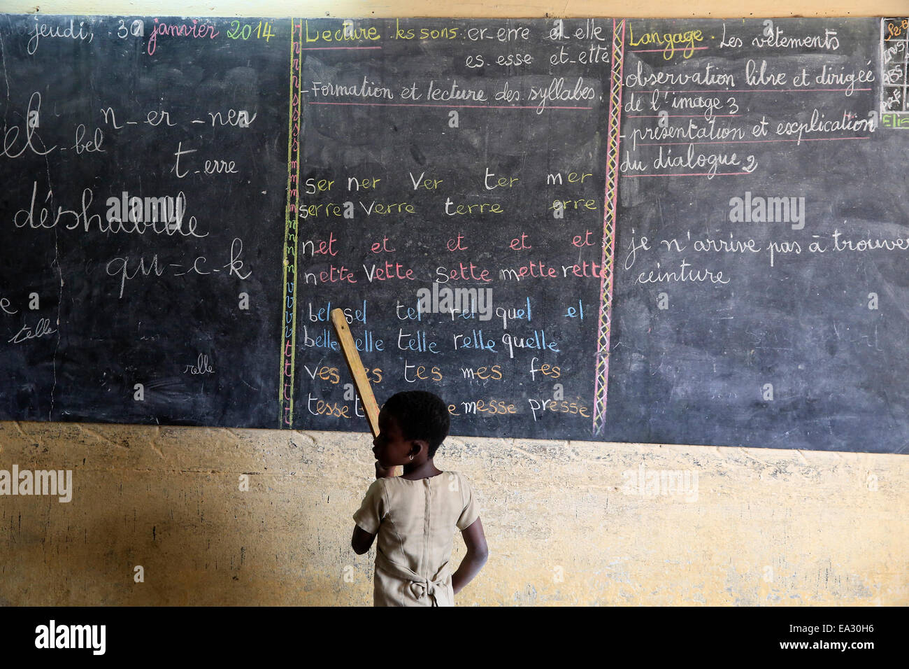 Pupil at the blackboard, primary school, Lome, Togo, West Africa, Africa - Stock Image