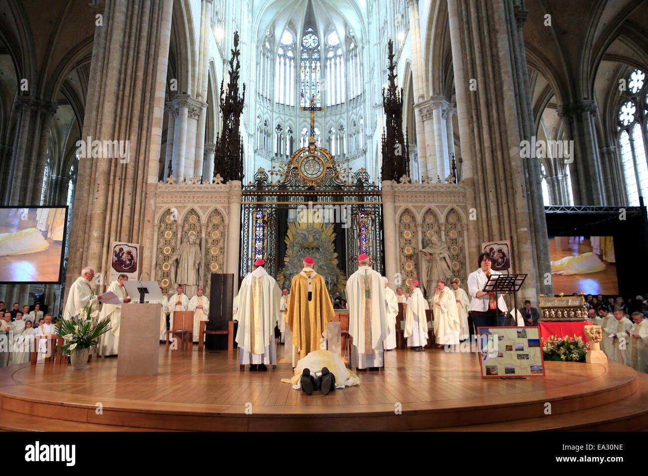 Bowing down, Litany of the Saints, Episcopal ordination, Amiens Cathedral, Somme, France, Europe - Stock Image
