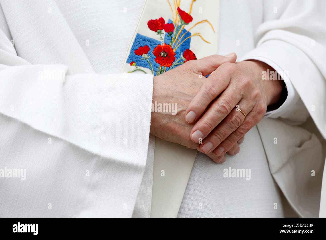 Catholic priest, Amiens cathedral, Somme, France, Europe - Stock Image