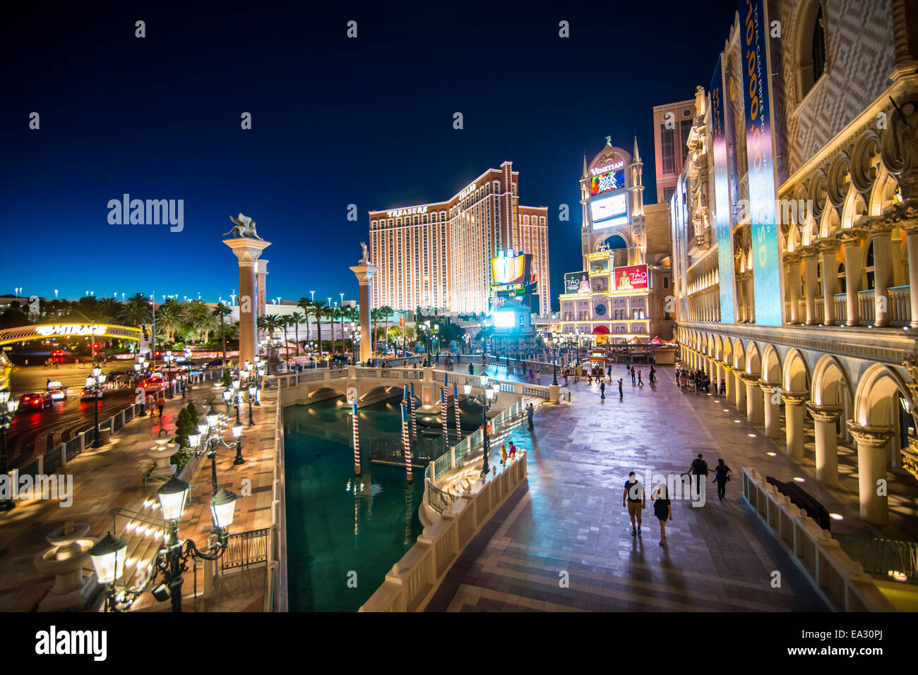 The Venetian at night, Las Vegas, Nevada, United States of America, North America - Stock Image