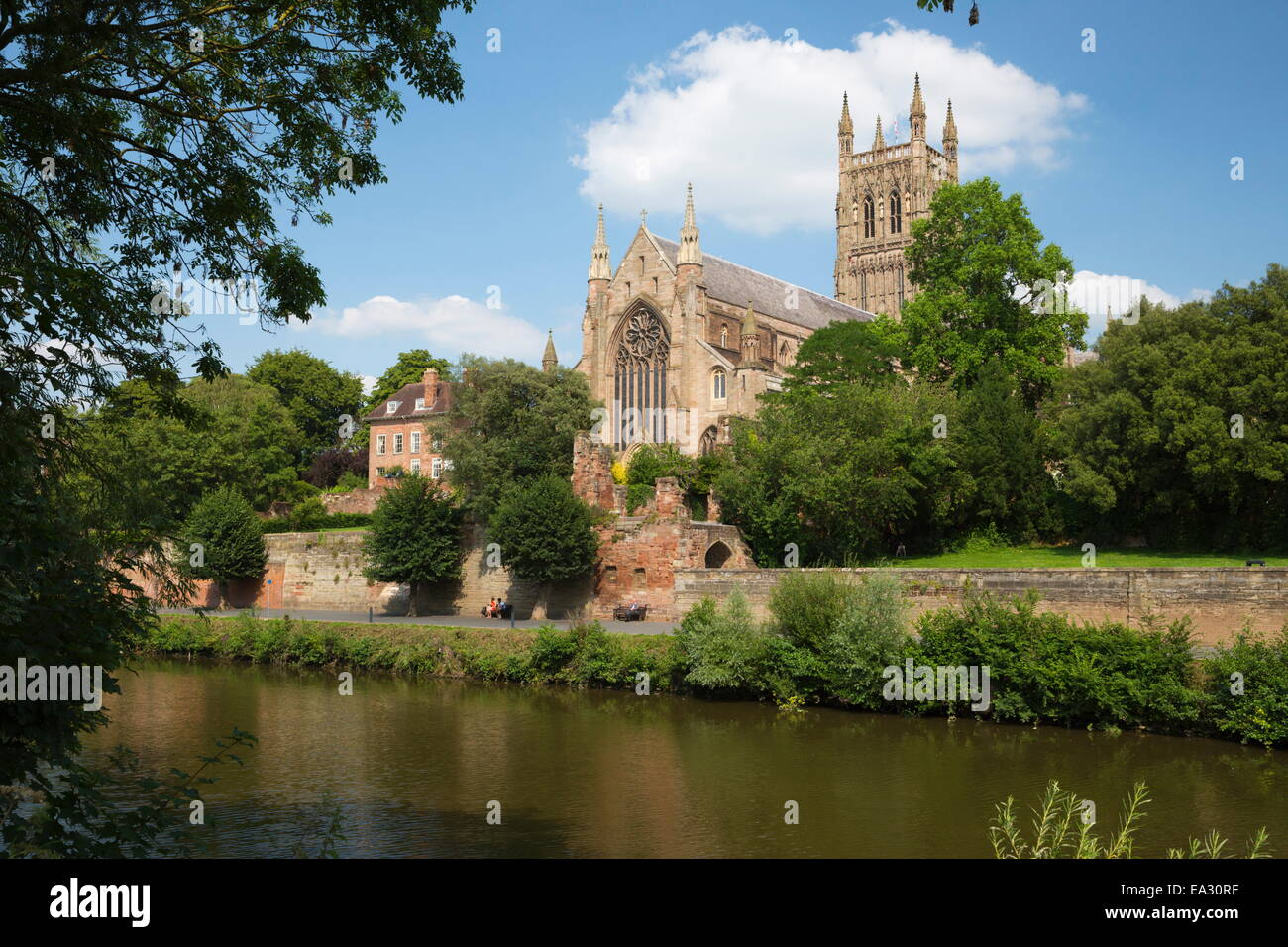 Worcester Cathedral and the River Severn, Worcester, Worcestershire, England, United Kingdom, Europe - Stock Image