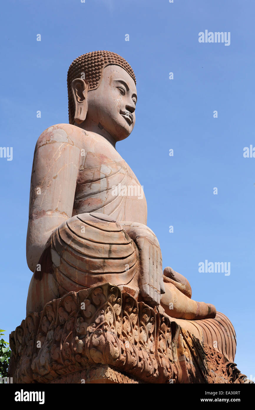 Long-eared Buddha figure at Udon Monastery at Phnom Udon, Udong, Cambodia, Indochina, Southeast Asia, Asia - Stock Image