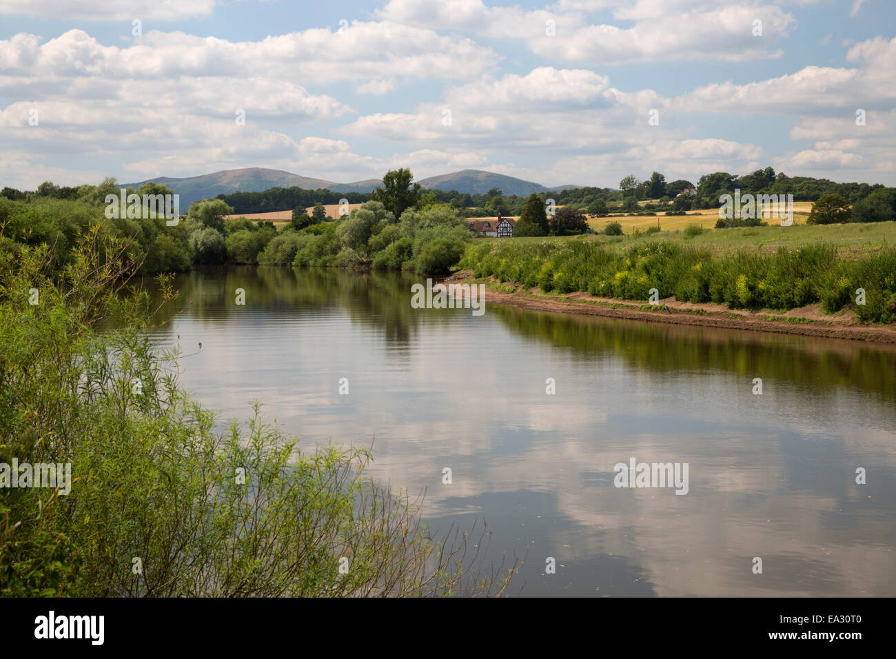 River Severn and the Malvern Hills, near Kempsey, Worcestershire, England, United Kingdom, Europe - Stock Image