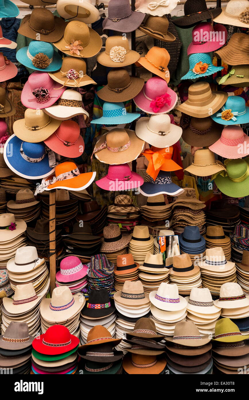 Hat stall, Pisac Textiles Market, Sacred Valley, Peru, South America - Stock Image