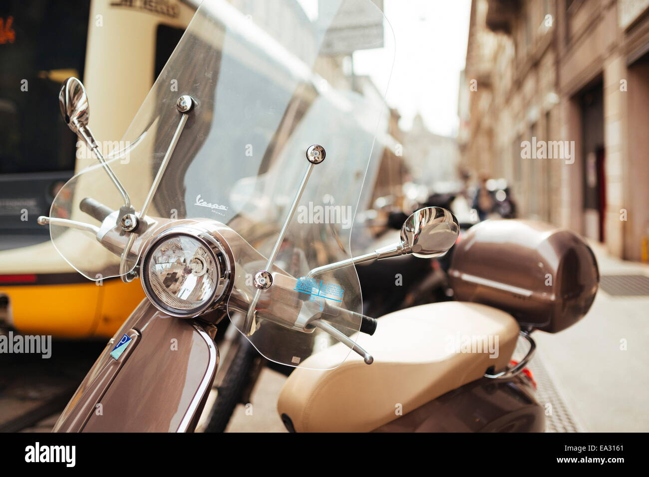 Parked Vespa moped, Milan, Lombardy, Italy, Europe - Stock Image
