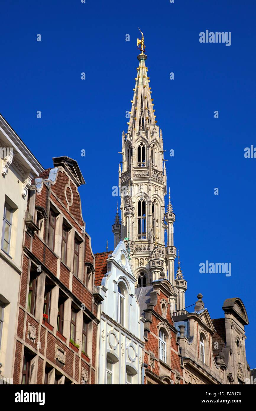 Town Hall Spire, Grand Place, UNESCO World Heritage Site, Brussels, Belgium, Europe - Stock Image