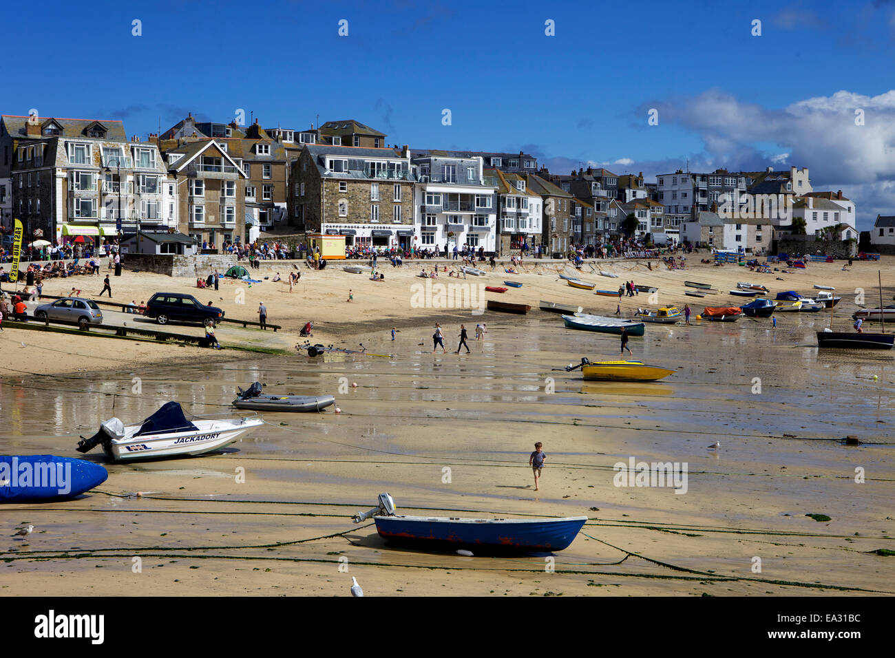 Boats in St. Ives harbour at low tide, St. Ives, Cornwall, England, United Kingdom, Europe Stock Photo