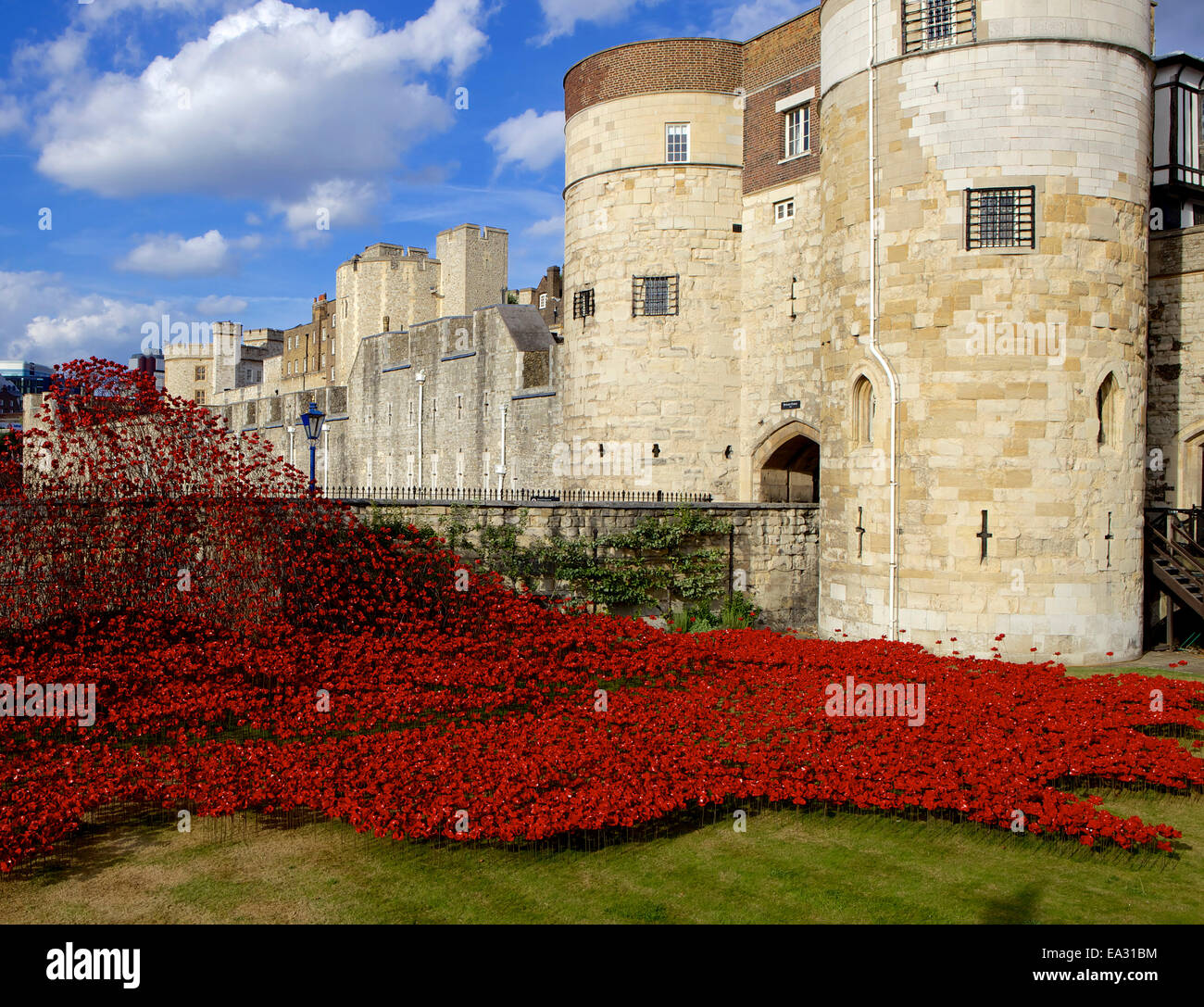 Blood Swept Lands and Seas of Red installation at The Tower of London, Tower of London, UNESCO Site, London, England, Stock Photo