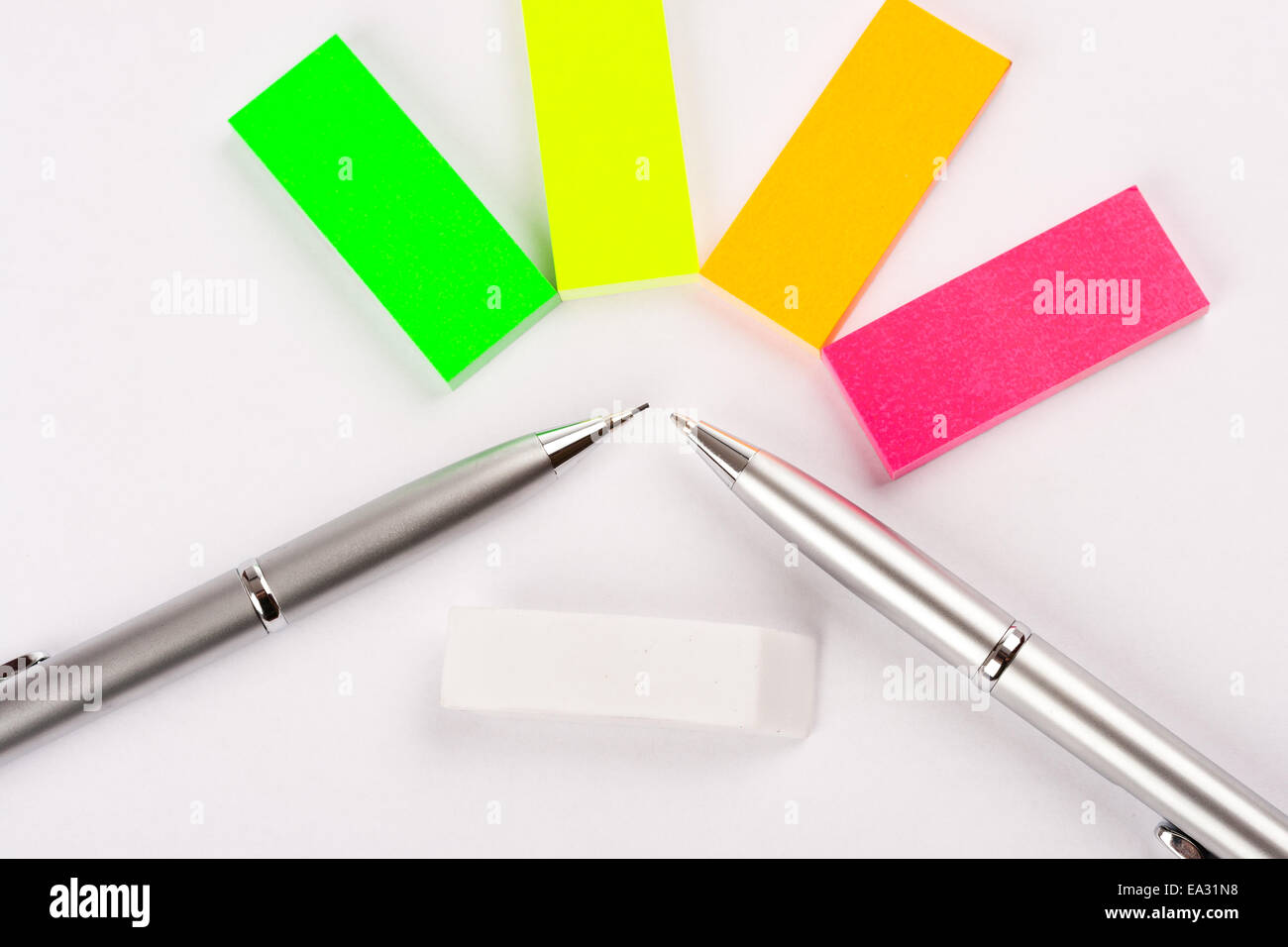 Postit and pens - Stock Image