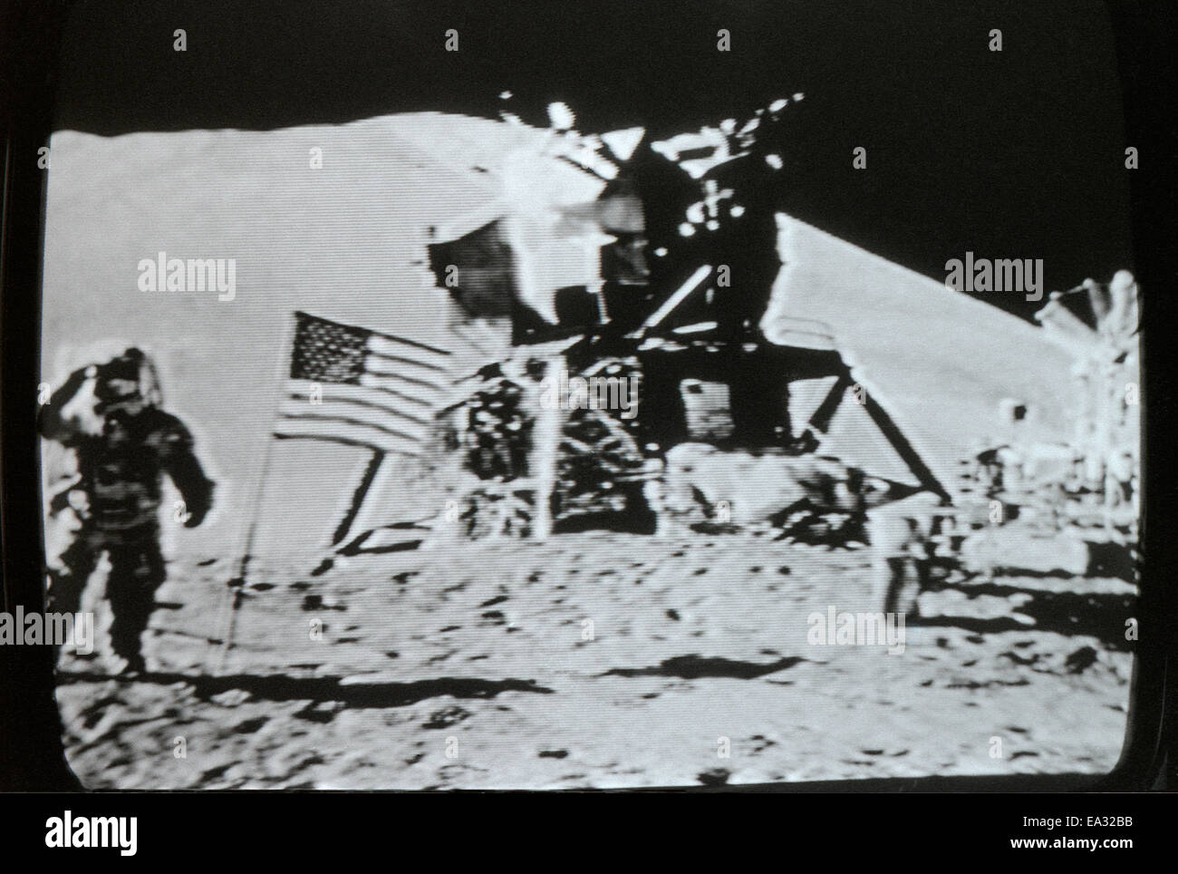 Moon Landing Lunar Module Eagle Flag And Astronaut 20 July 1969 Photographed In Actual Time
