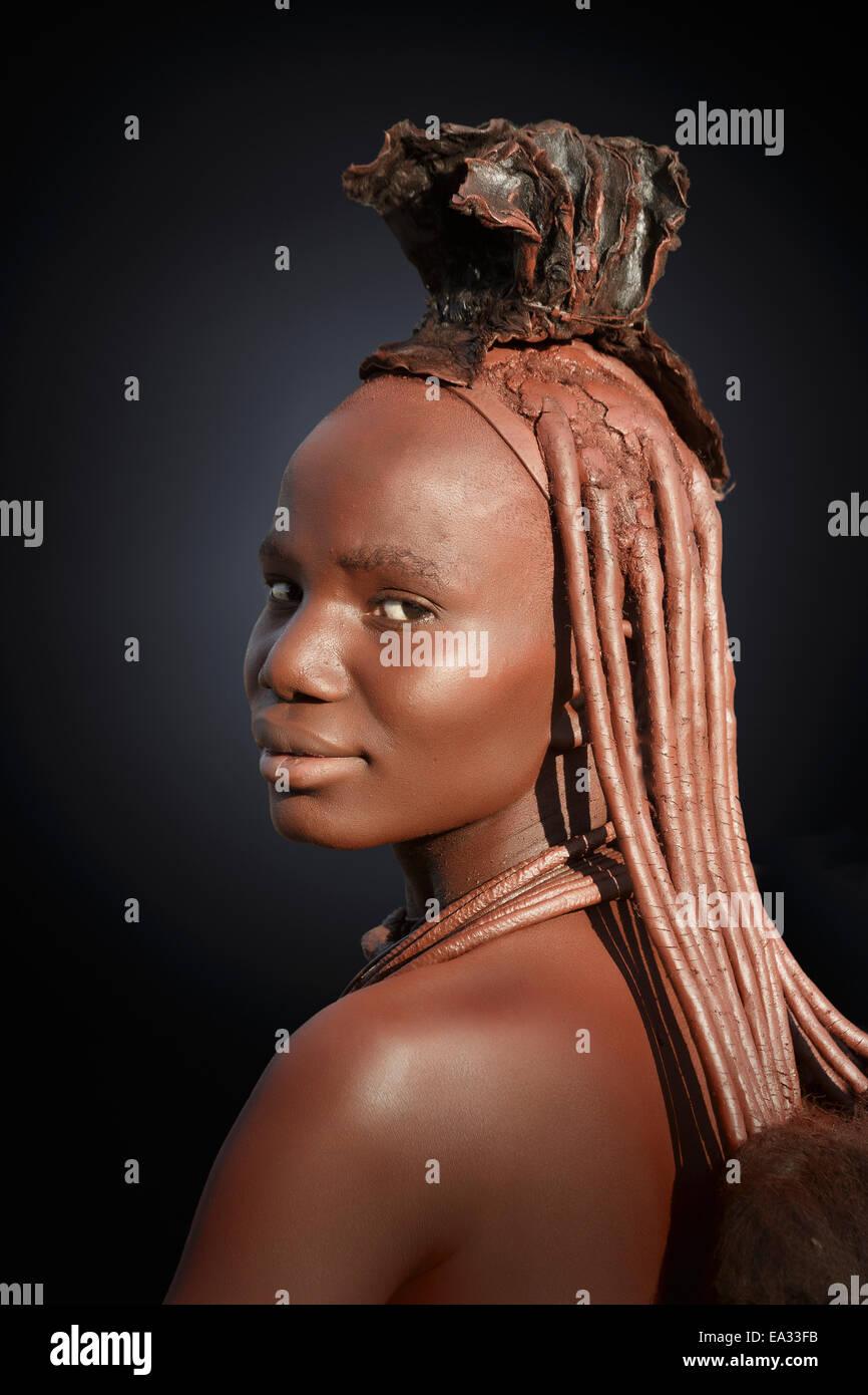 Himba with braided hair, Kaokoland, Namibia, Africa - Stock Image
