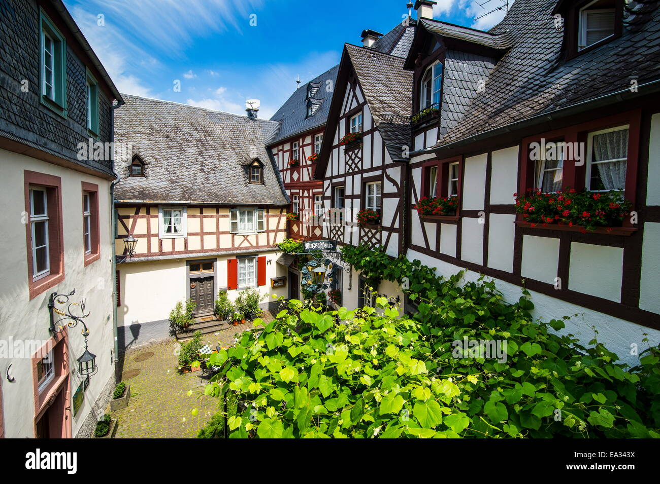 Half timbered houses in Beilstein, Moselle Valley, Rhineland-Palatinate, Germany, Europe - Stock Image