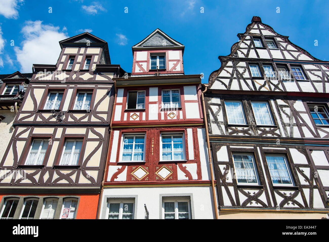 Half timbered houses on the market square in Cochem, Moselle Valley, Rhineland-Palatinate, Germany, Europe - Stock Image