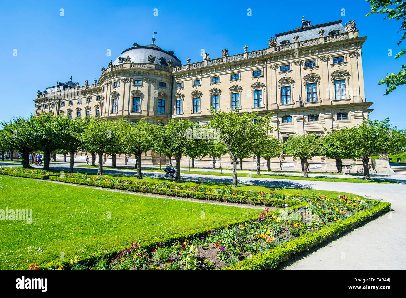 The Baroque gardens in the Wurzburg Residence, UNESCO World Heritage Site, Wurzburg, Franconia, Bavaria, Germany, - Stock Image