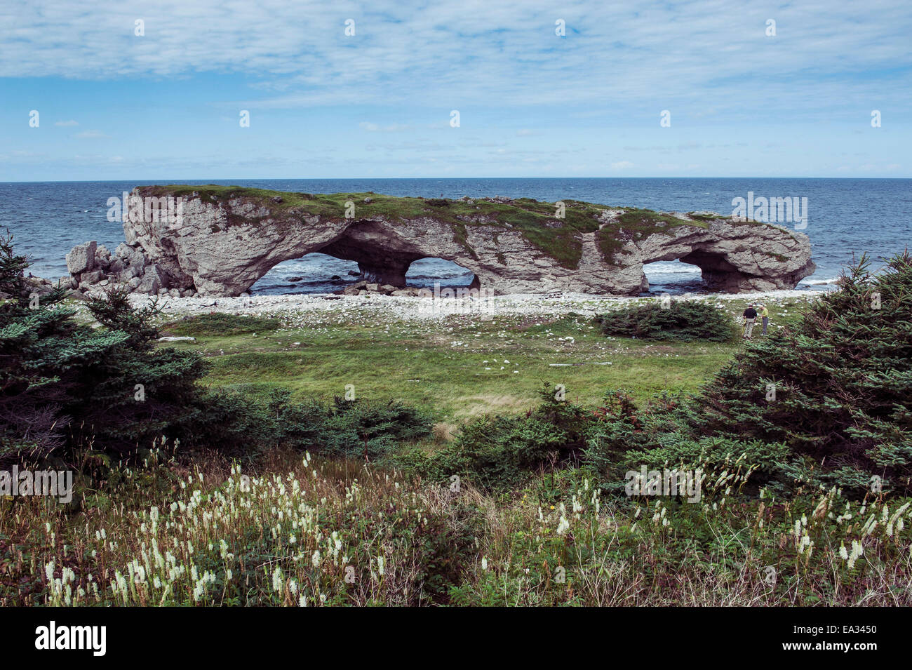 Huge arch in the Natural Bridges State Park, Newfoundland, Canada, North America - Stock Image