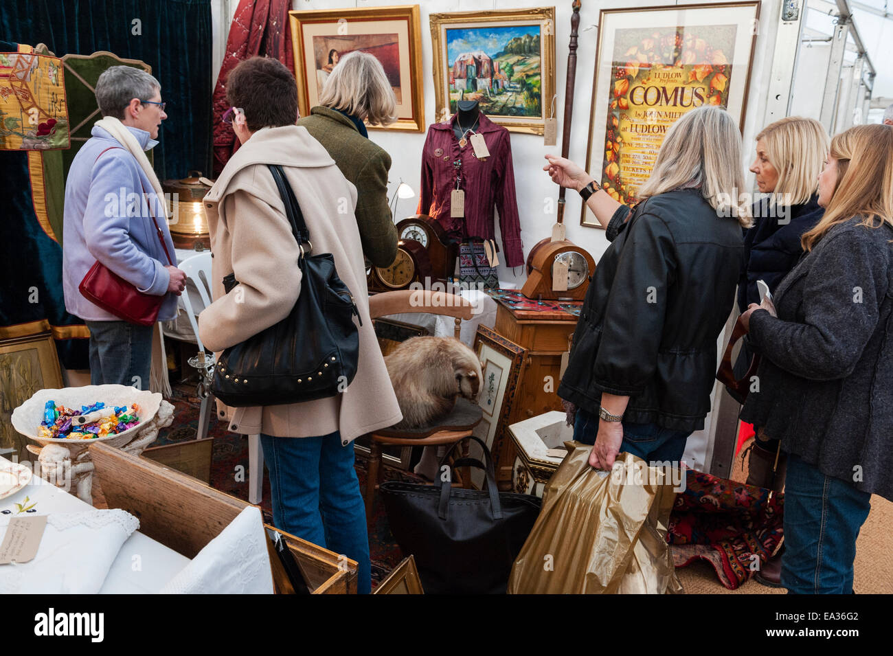 Visitors and dealers inspecting items for sale at a country antiques fair, Herefordshire, UK - Stock Image