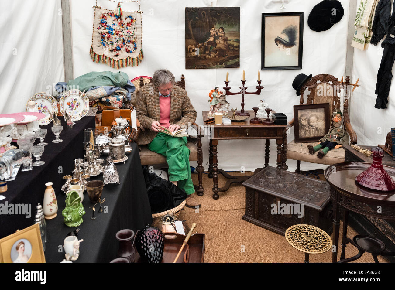 An antique dealer at his stall at a country antiques fair, Herefordshire, UK - Stock Image
