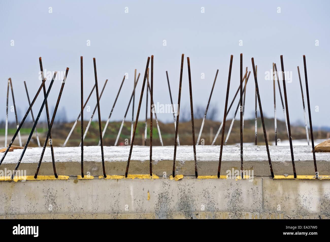Reinforcement in bridge construction Stock Photo