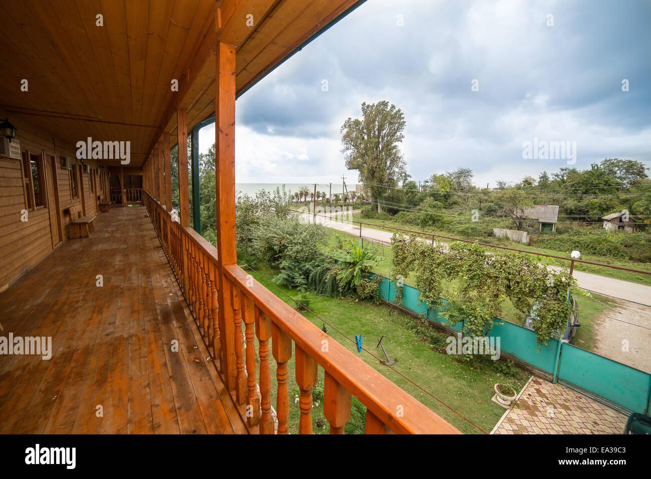 Hotel veranda, Gudauta, Abkhazia - Stock Image