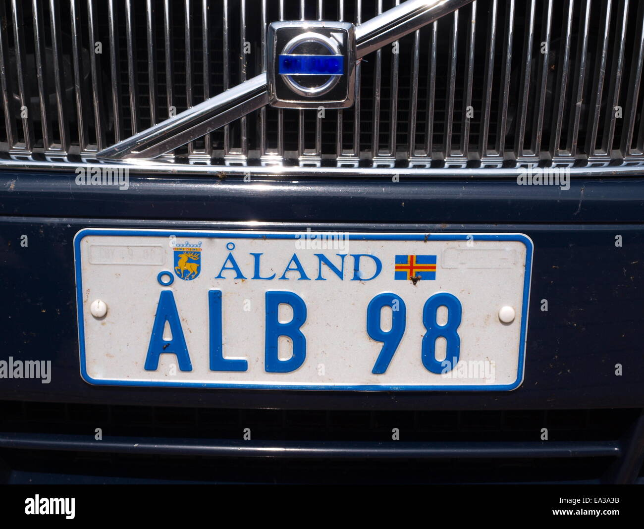 Car license plate Aland, Aland Islands - Stock Image