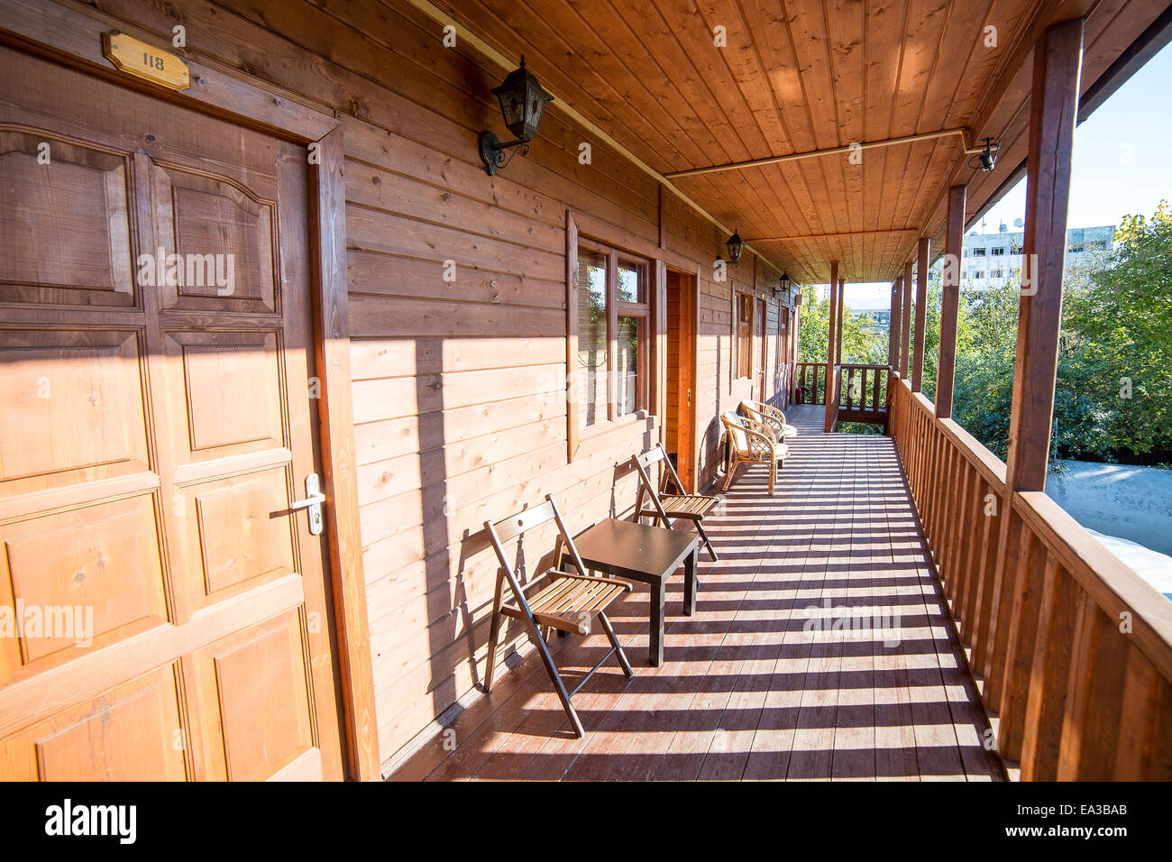 Veranda of wooden house, Gudauta, Abkhazia - Stock Image