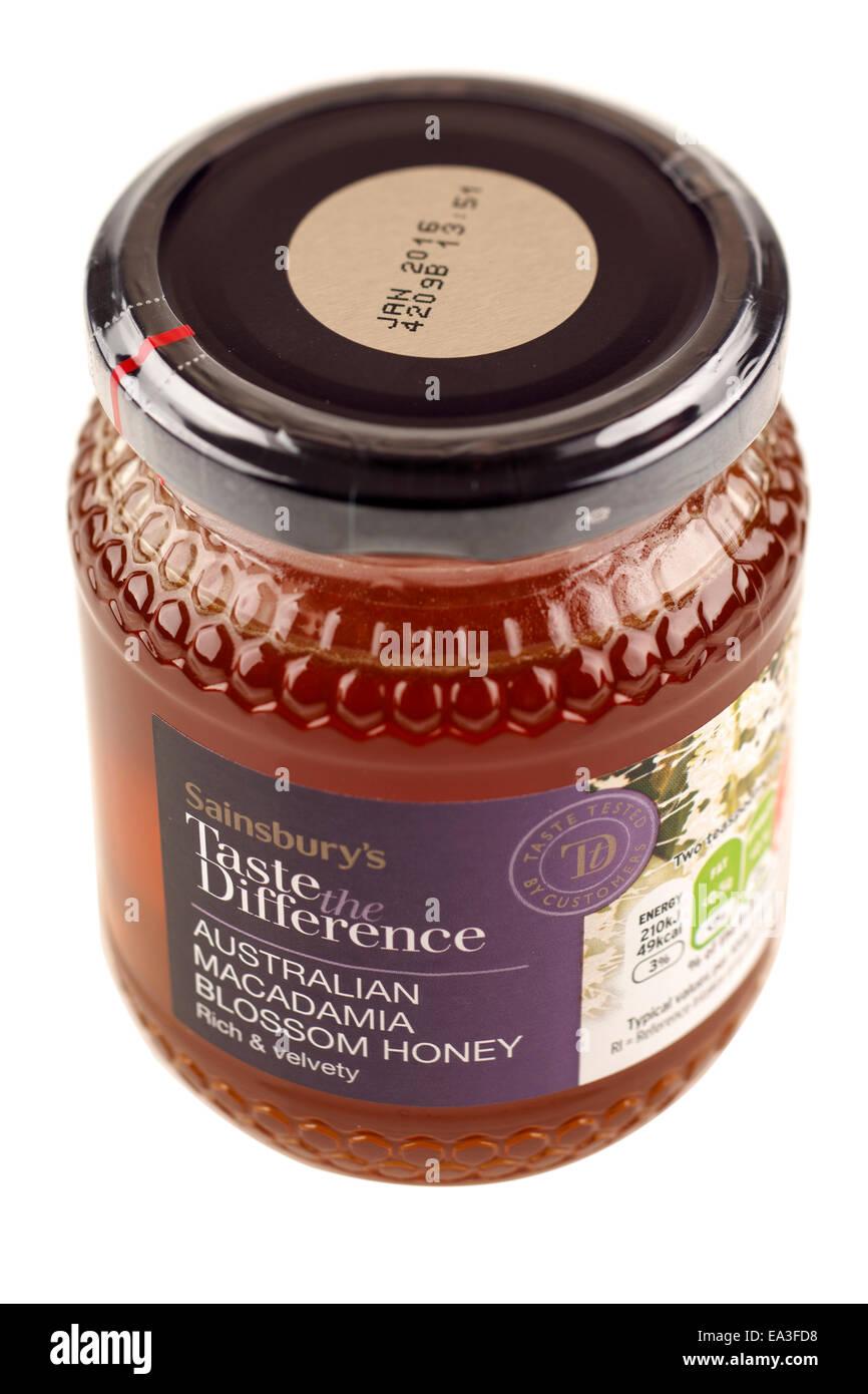 Jar Australian Macadamia Blossom Honey - Stock Image