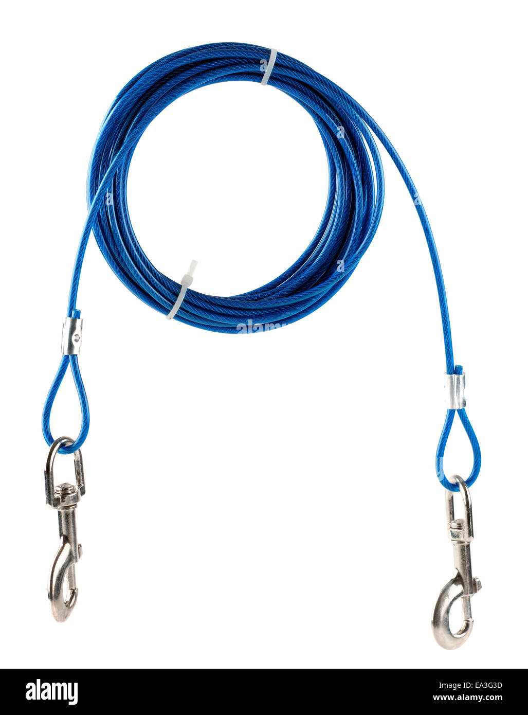 Dog tie up plastic coated wire with quick release clips - Stock Image