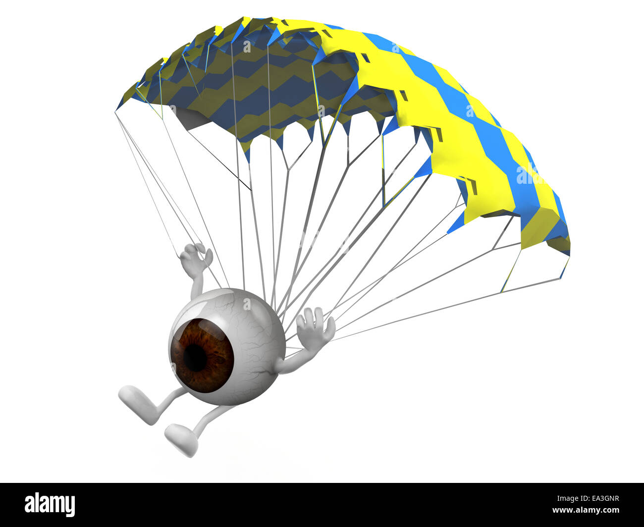 eyeball with arms and legs that is landing with parachute