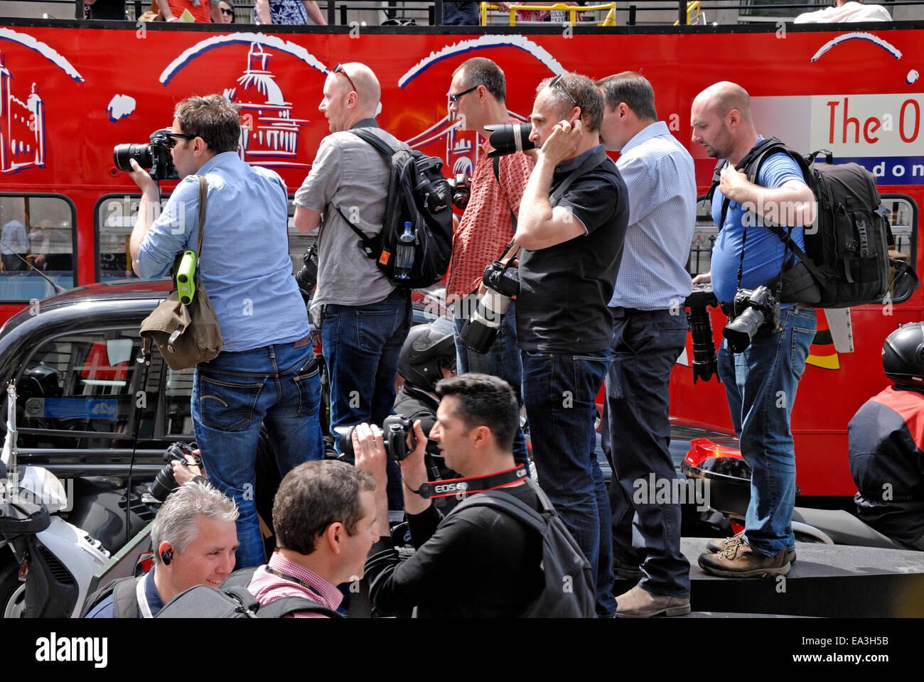 London, England, UK. Photographers covering the London Black cab drivers blockade Trafalgar Square 2014 Stock Photo