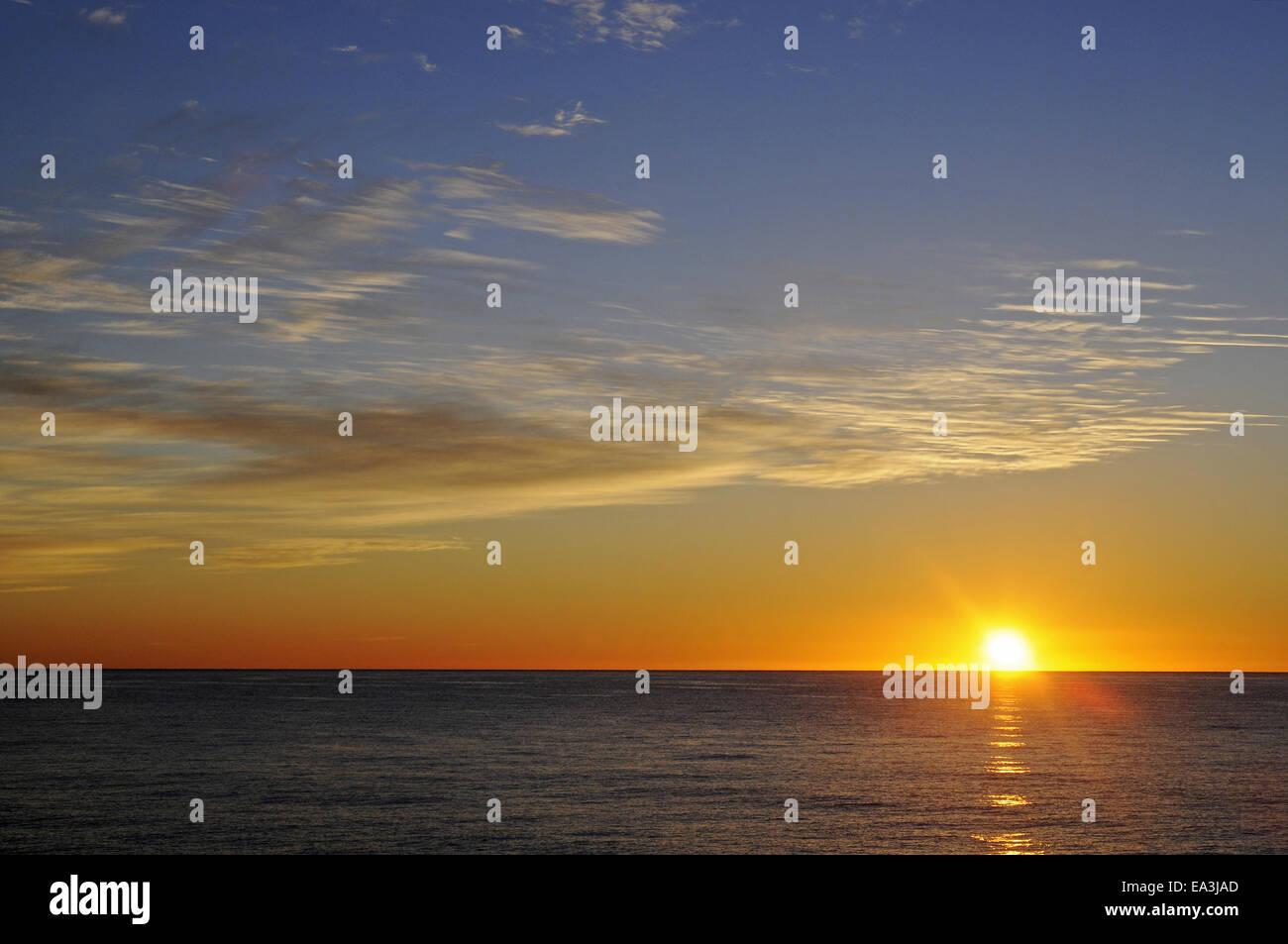 Sunrise, Mediterranean, Altea, Spain - Stock Image