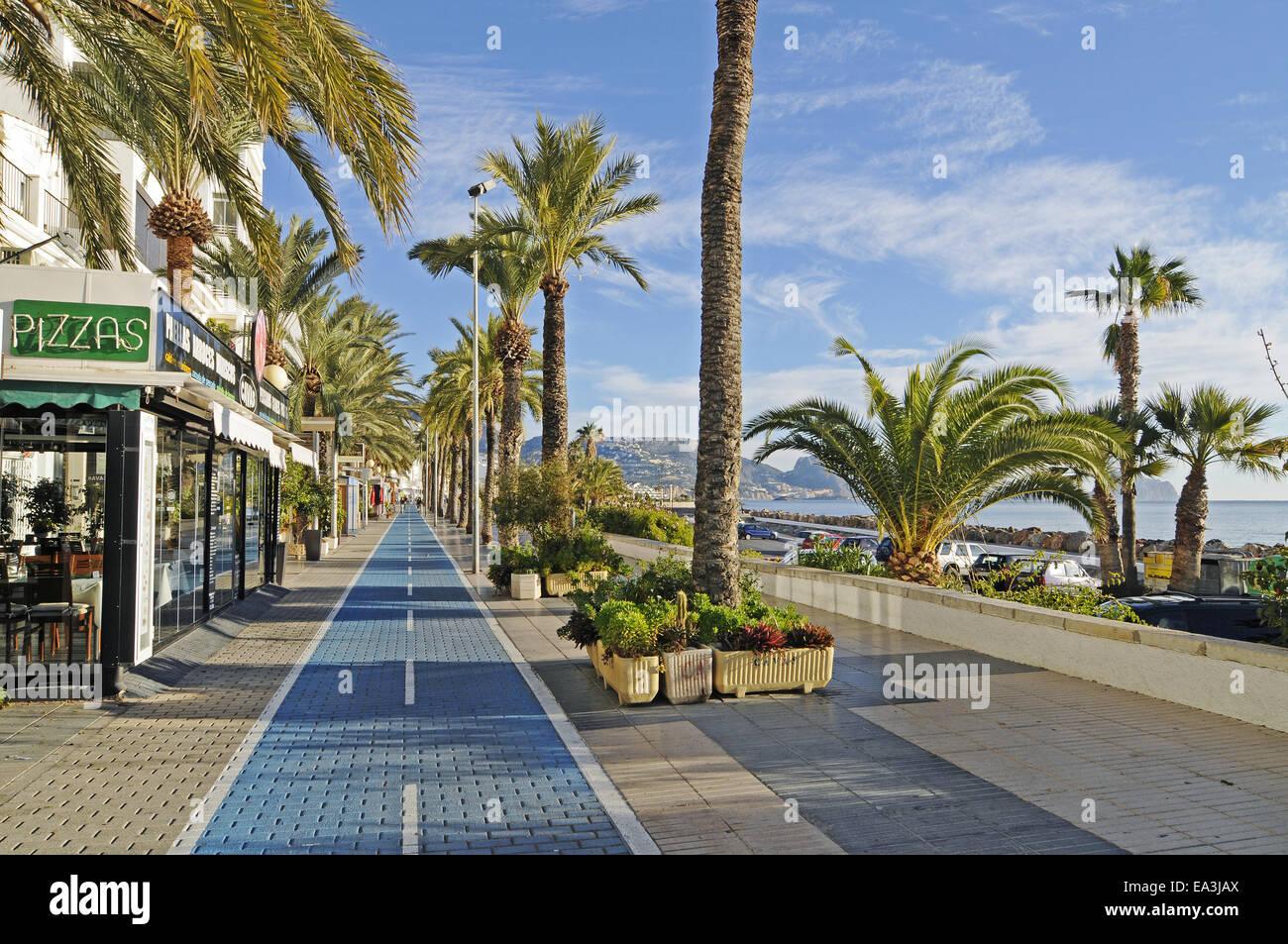 waterside promenade, Altea, Spain - Stock Image